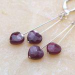 Ruby Heart Love Earrings